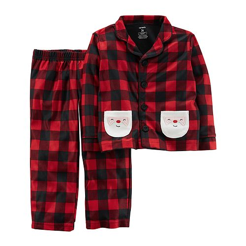Toddler Boy Carter's Santa Buffalo Check Top & Bottoms Microfleece Pajama Set