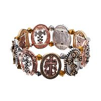 Believe In Filigree Cross Tri Tone Stretch Bracelet