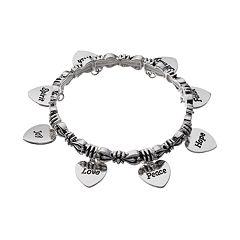 Believe In Heart Charm Stretch Bracelet