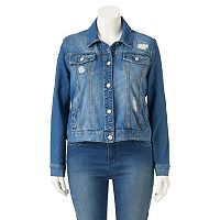 Juniors' Plus Size Mudd® Destructed Jean Jacket