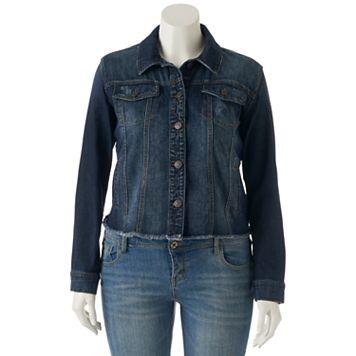 Juniors' Plus Size Mudd® Frayed Jean Jacket
