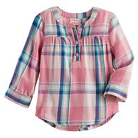 Baby Girl Jumping Beans® Plaid Lurex Henley
