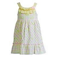 Baby Girl Youngland Plaid Lemon Seersucker Dress