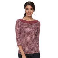Petite Croft & Barrow® Crochet Boatneck Tee