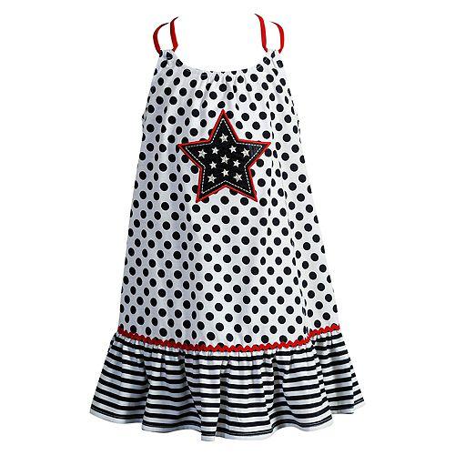 Baby Girl Youngland Polka-Dot Star Applique Patriotic Sundress