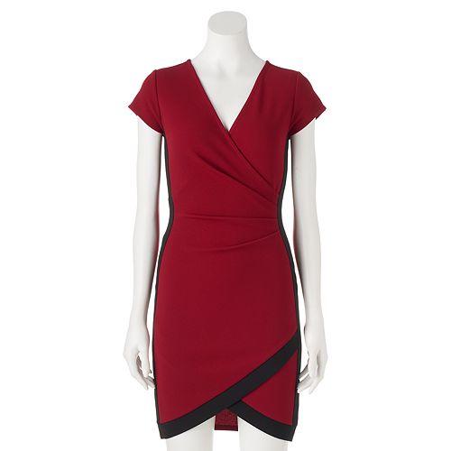 Juniors' Almost Famous Faux-Wrap Dress