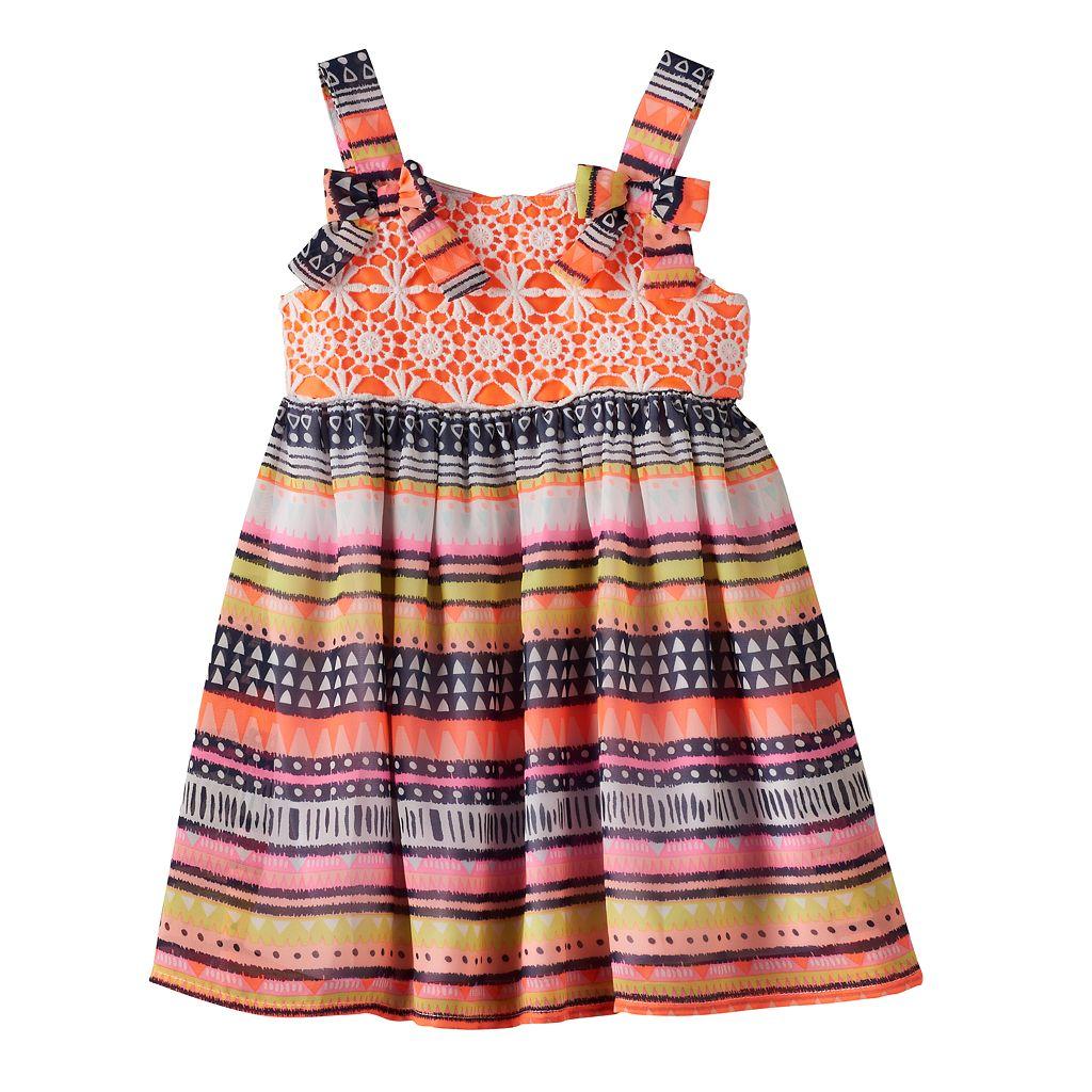 Baby Girl Blueberi Boulevard Tribal Crochet Chiffon Dress