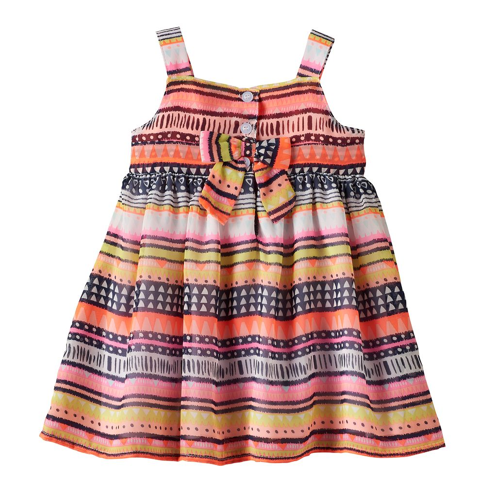 Baby Girl Blueberi Boulevard Tribal Crochet Chiffon Dress