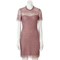 Juniors' Almost Famous Lace Mock Neck Dress