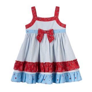 Baby Girl Blueberi Boulevard Patriotic Tiered Ruffle Dress