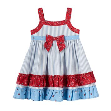 Baby Girl Blueberi Boulevard Patriotic Tiered Ruffle Dress