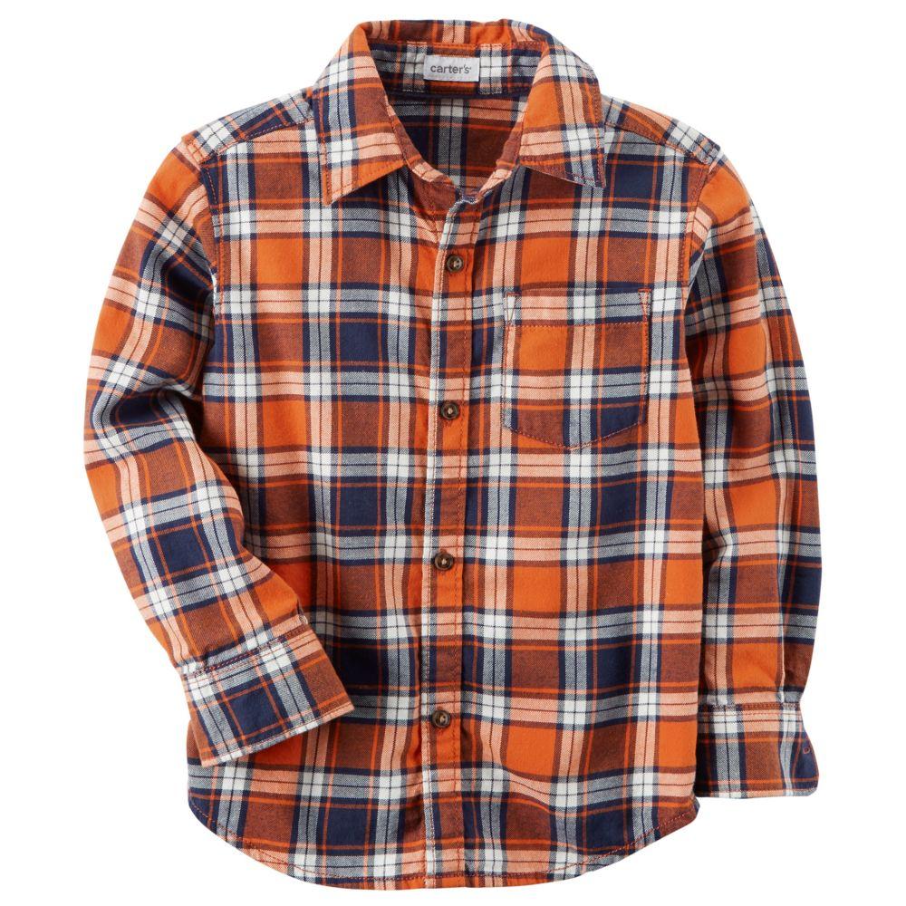 Boy Carter's Orange Plaid Button Down Shirt