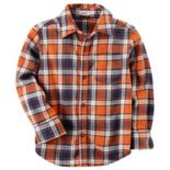 Toddler Boy Carter's Orange Plaid Button Down Shirt