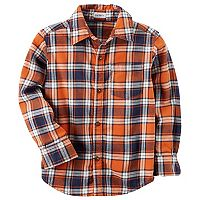 Toddler Boy Carter's Orange Plaid Button Down Shirt