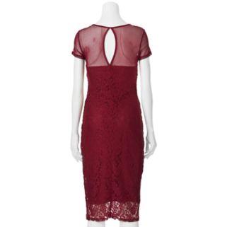 Juniors' Almost Famous Illusion Lace Midi Dress