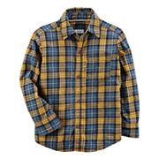 Toddler Boy Carter's Yellow & Blue Plaid Button-Front Shirt
