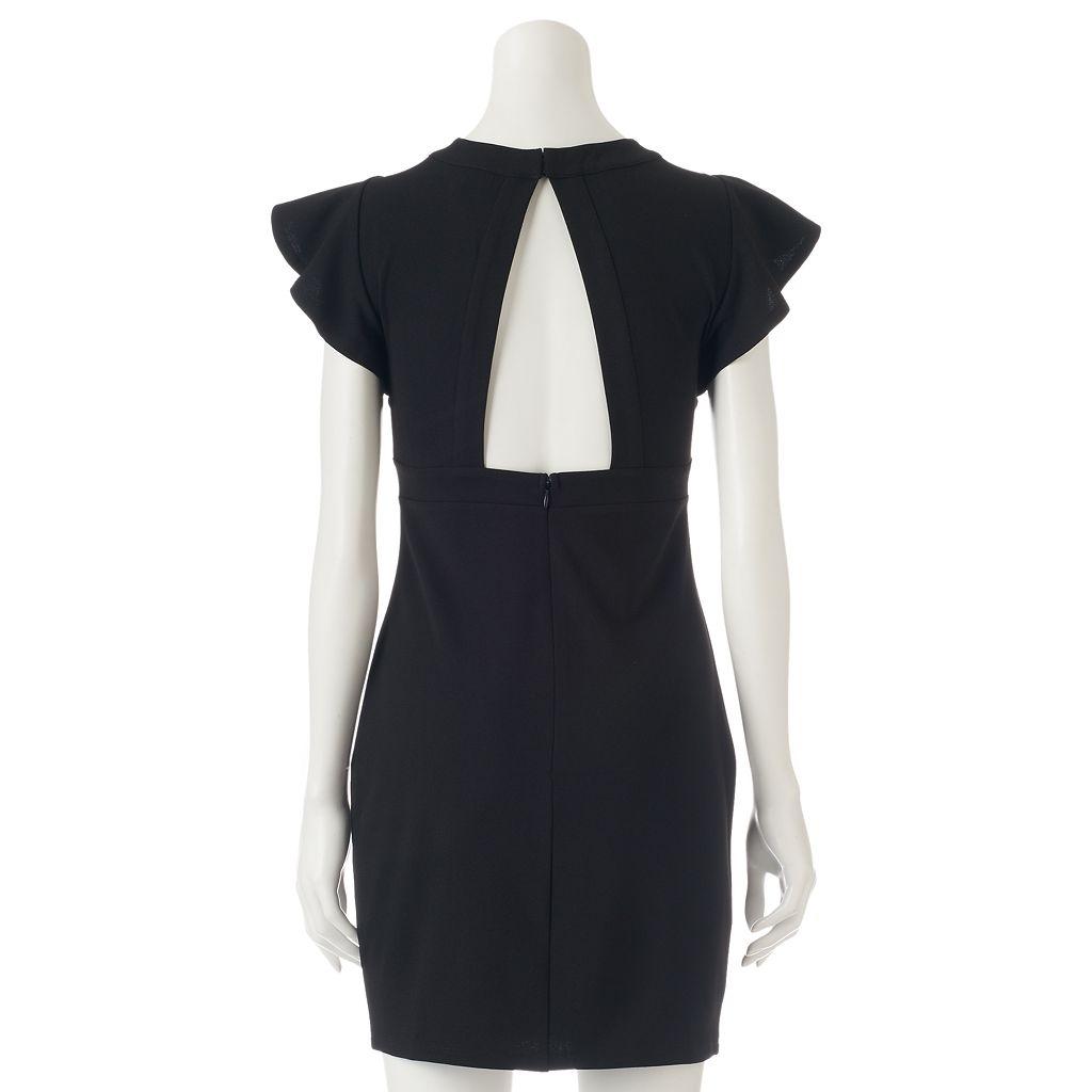Juniors' Almost Famous Open-Back Blouson Dress