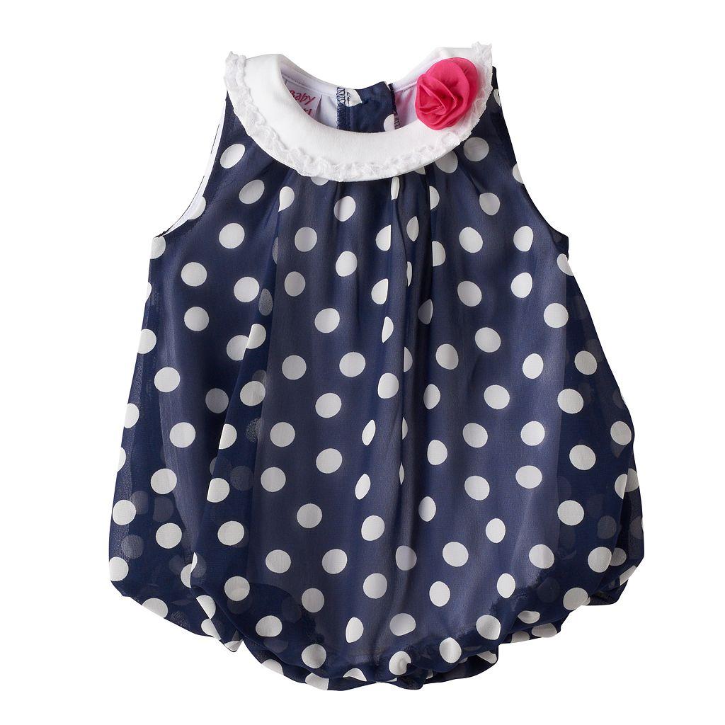 Baby Girl Blueberi Boulevard Polka-Dot Chiffon Sunsuit