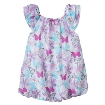 Baby Girl Blueberi Boulevard Butterfly Bubble-Hem Sunsuit