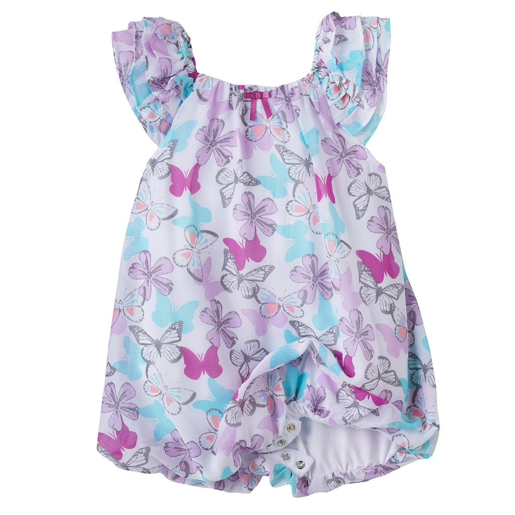 Baby Girl Blueberi Boulevard Butterfly Bubble-Hem Sunsuit