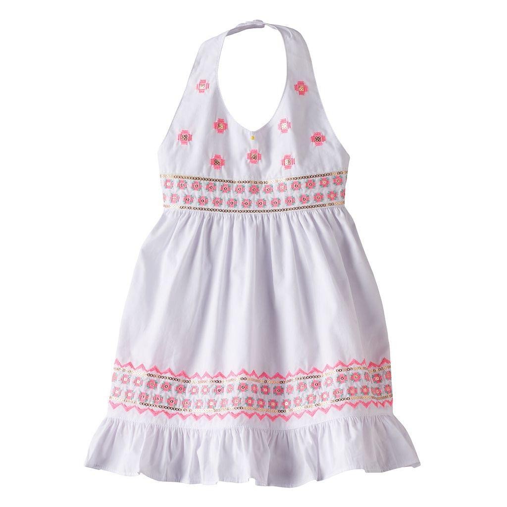 Baby Girl Blueberi Boulevard Sequin Embroidered Halter Sundress