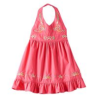 Baby Girl Blueberi Boulevard Embroidered Halter Sundress