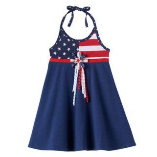 Baby Girl Blueberi Boulevard American Flag Halter Dress