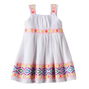 Baby Girl Blueberi Boulevard Embroidered Tribal Sundress