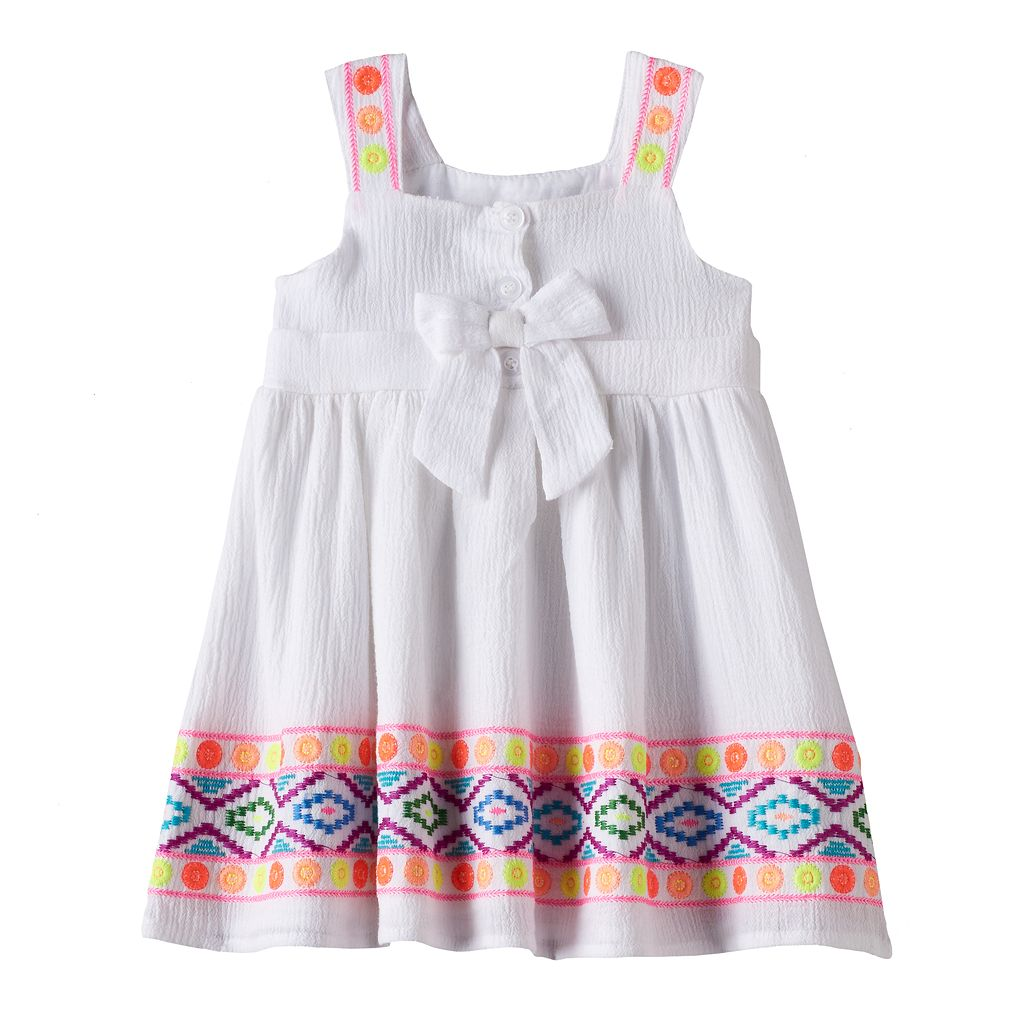 Baby Girl Blueberi Boulevard Embroidered Tribal Sundress