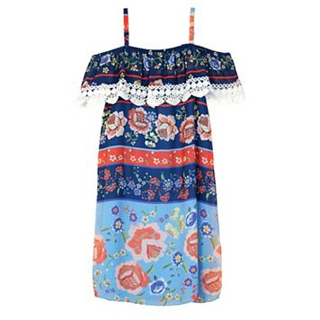 Girls 7-16 IZ Amy Byer Lace Trim Off Shoulder Chiffon Sheath Dress