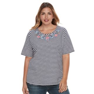 Plus Size Croft & Barrow® Embroidered Scoopneck Tee