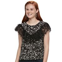 Juniors' Lily Rose Lace Flutter Top
