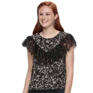 Juniors' Lily Rose Lace Flutter Top