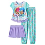 Girls 4-8 Shimmer & Shine 3 pc Tee, Shorts & Pants Pajama Set