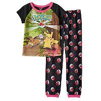 Girls 6-14 Pokémon Pikachu, Eevee & Jigglypuff Tee & Pokeball Bottoms Pajama Set