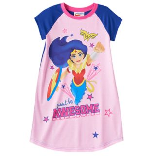 """Girls 4-10 DC Comics Wonder Woman """"Be Awesome"""" Dorm Nightgown"""