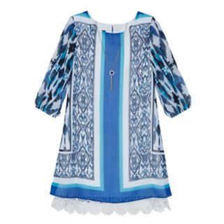 Girls 7-16 IZ Amy Byer 3/4-Sleeve Printed Shift Dress with Necklace