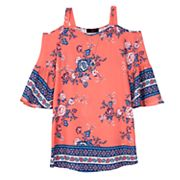 Girls 7-16 IZ Amy Byer Floral Border 3/4-Sleeve Cold-Shoulder Top with Necklace