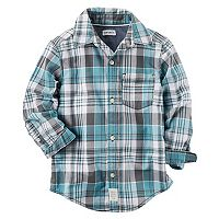 Baby Boy Carter's Mint Plaid Button-Front Shirt