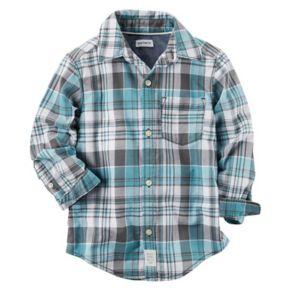 Baby Boy Carter's Mint Plaid Button-Front Shirt