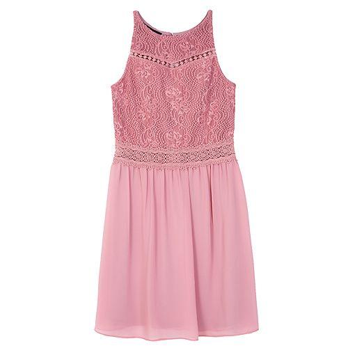 Girls 7-16 IZ Amy Byer Lace Bodice Chiffon Skirt Dress