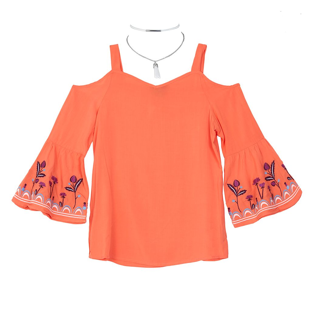 Girls 7-16 IZ Amy Byer Embroidered Bell Sleeve Cold-Shoulder Top with Choker Necklace