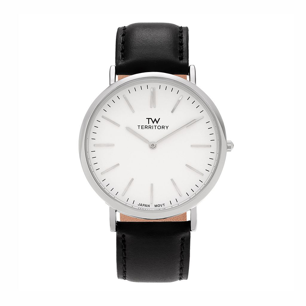 Territory Men's Leather Watch - KH-TW-29931-WHT-BK