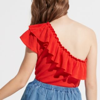 k/lab Ruffle One Shoulder Top