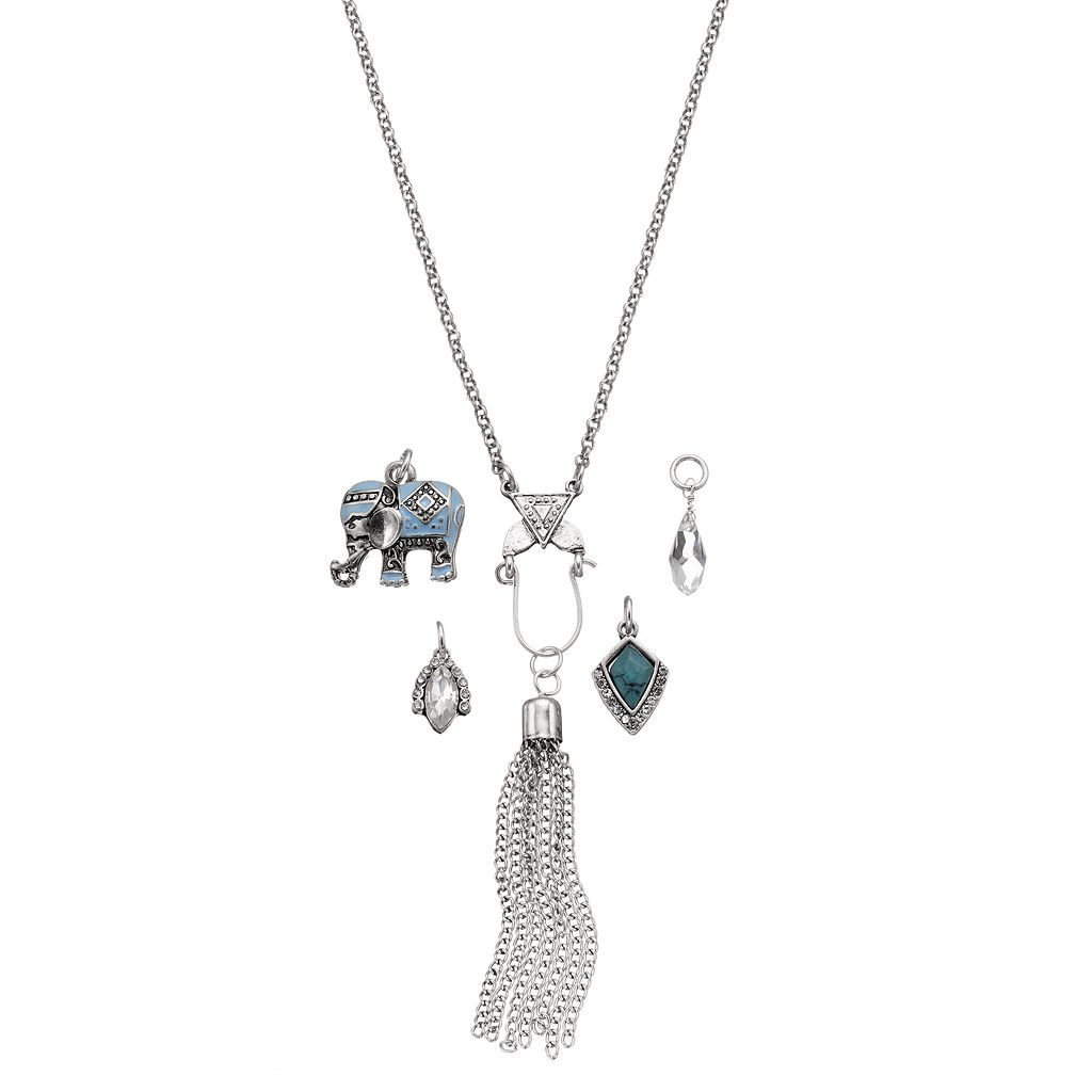 Mudd® Long Interchangeable Elephant Charm Necklace Set