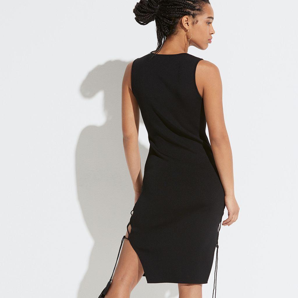 k/lab Lace-Up Side Sweater Dress