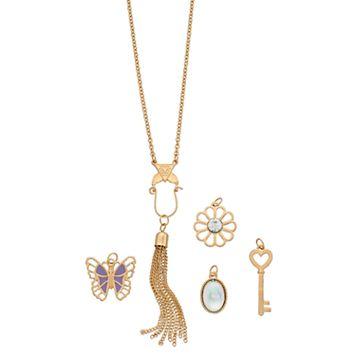 Mudd® Long Butterfly, Flower & Key Charm Necklace Set