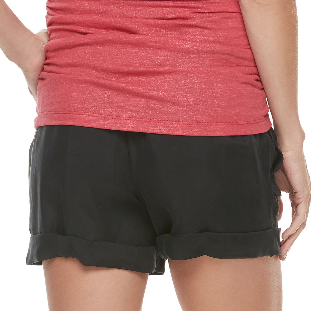 Maternity a:glow Full Belly Panel Cuffed Twill Shorts