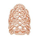 18k Rose Gold Over Silver Lab-Created White Sapphire Filigree Ring