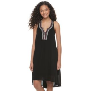 Juniors' Almost Famous Embroidered Notch Neck Dress